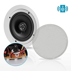 """Ceiling and Wall Mount Speaker - 6.5"""" 2-Way 70V Audio Stereo Sound Subwoofer Sound with Dome Tweeter, 500 Watts, in-Wall & in-Ceiling Flush Design for Home Surround System - Pyle PDIC63T (White)"""
