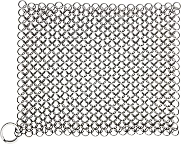Candure Cast Iron Cleaner Stainless Steel 7x7 Inch Chainmail Scrubber For All Types Of Skillet Griddles Cast Iron Pans Grills Dutch Ovens