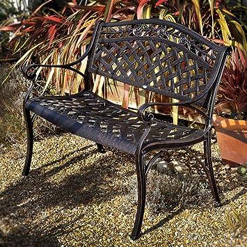 Lazy Susan Furniture - Rose Metal Garden Bench Antique Bronze No