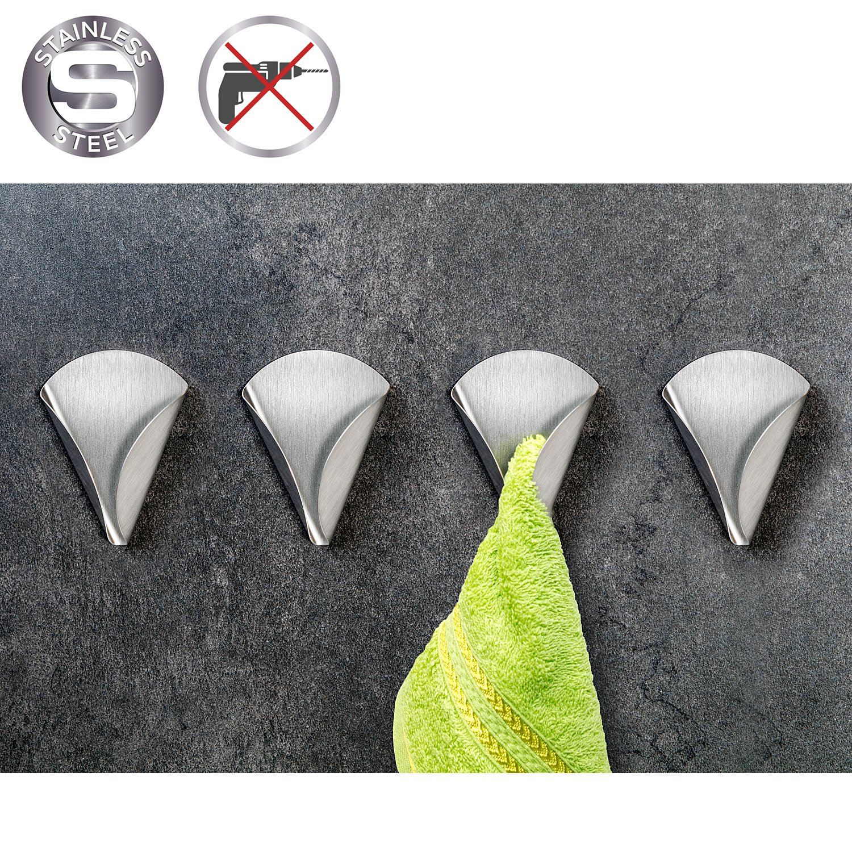Tatkraft Eva 4 Pack Adhesive Towel Holder Up to 2 kg, Stainless Steel