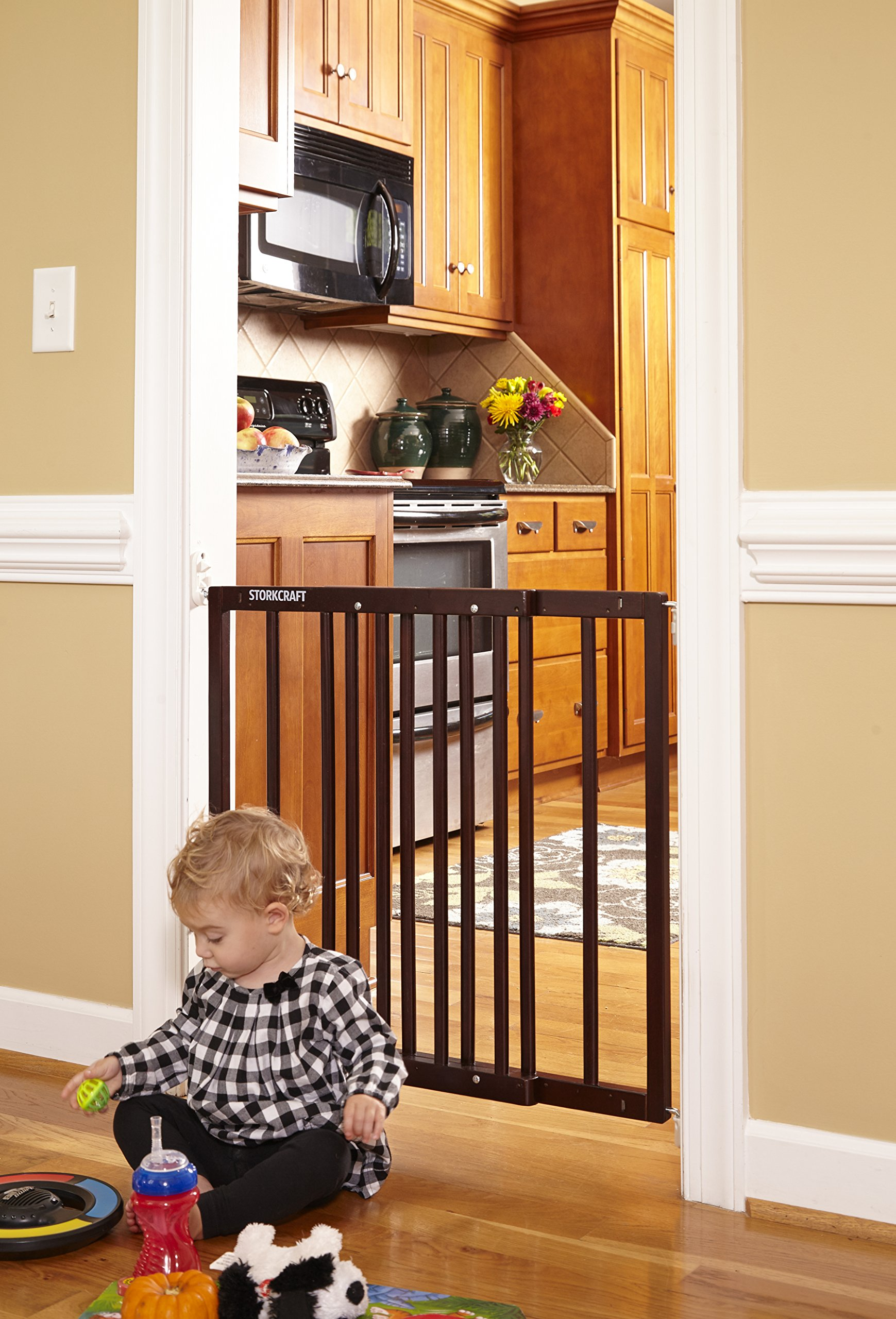 Storkcraft Easy Walk-Thru Wooden Safety Gate, Espresso Adjustable Baby Safety Gate For Doorways and Stairs, Great for Children and Pets by Stork Craft (Image #5)