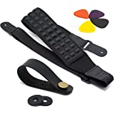 Ultimate Guitar Strap Pack: High-End Electric Guitar & Bass Strap with 2 Strap Locks, Strap Button + 5 Guitar Picks Set. Sturdy, Adjustable & Comfortable Guitar Accessory. Top Gift Idea for Musicians