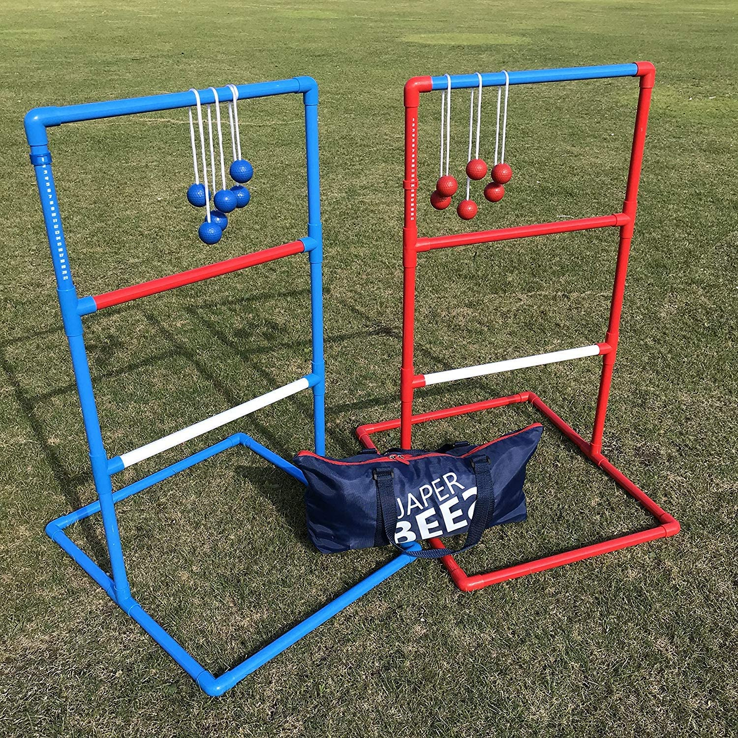 JAPER BEES Ladder Ball Toss Game Set, Outdoor Lawn Game with Rubber Bolo Balls Fasion Carrying Bag