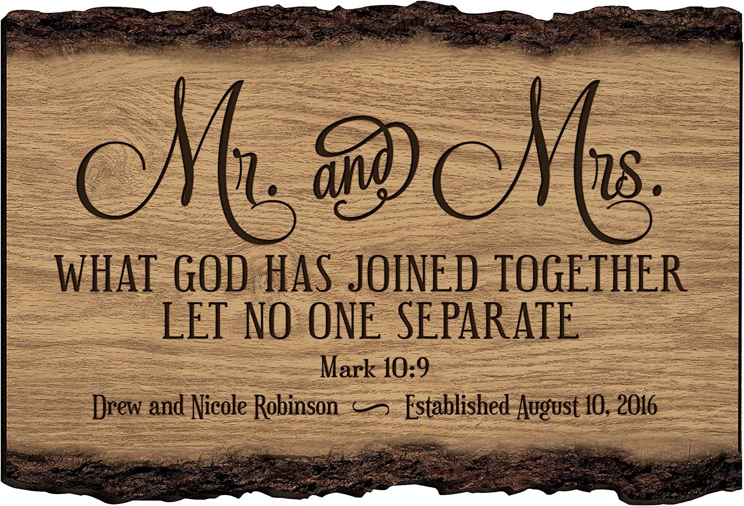 LifeSong Milestones Mr and Mrs Personalized Custom Family Name Sign Engraved with Family Name and Established Date to Remember Wedding Gift Ideas (Mr & Mr.)