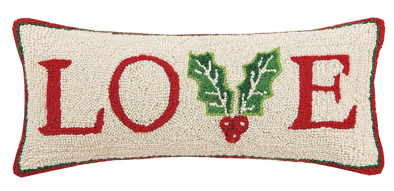 Peking Handicraft Love Hook Wool Lumbar Pillow Red 31SERX281C20OB