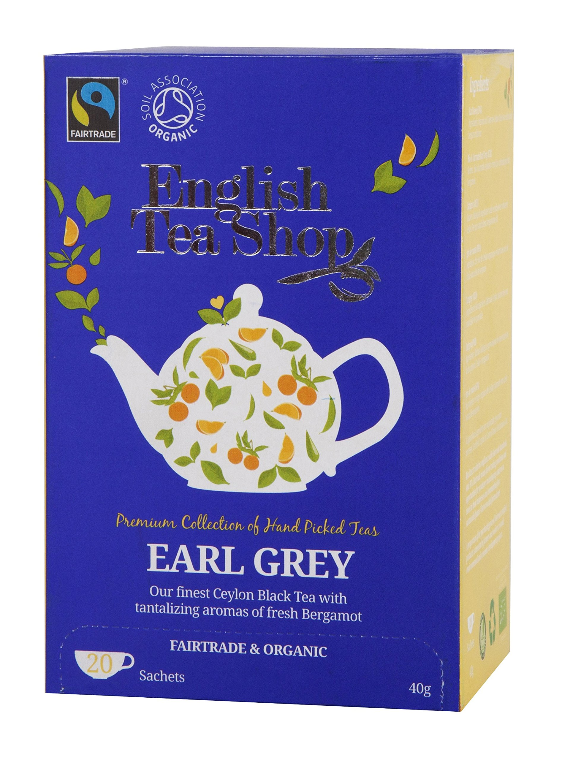 English Tea Shop Earl Grey 20 Sachet Tea Bags, 40 Gram (Pack of 6)