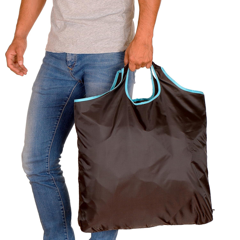 gripONE Shopper Brown - Faltbare Einkaufstasche aus Hochwertiger Fallschirmseide, dadurch extrem robust, leicht und kompakt