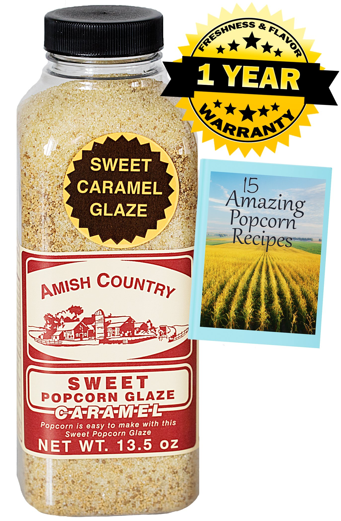 Amish Country Popcorn - Sweet Caramel Glaze - 13.5 oz - Great Tasting and Old Fashioned Sweet Treat - with Recipe Guide and 1 Year Freshness Guarantee by Amish Country Popcorn (Image #1)