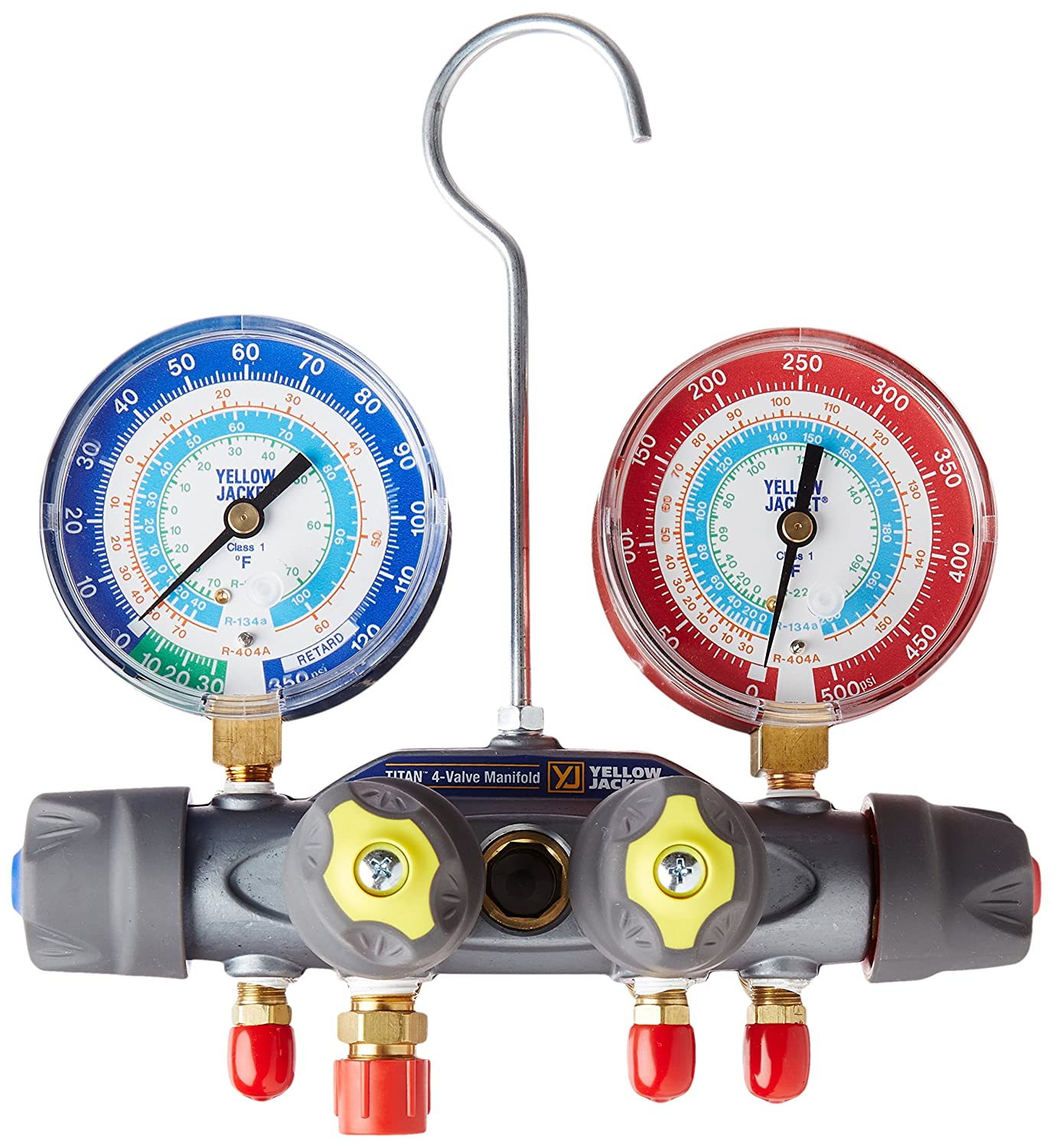 Yellow Jacket 49983 Manifold Only Degrees F, psi Scale, R-22/134A/404A Refrigerant, Red/Blue Gauges