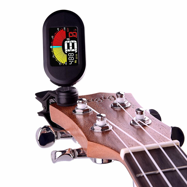 Mugig Stimmgerät Multifunktion buntes LCD Bildschirm Clip Tuner für Gitarre Ukulele Bass Geige Chromatisch CE FCC Zertifiziert Rohs konform