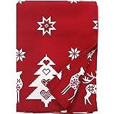 Ragged Rose - Tessa – Mantel de Algodón de Navidad, color Rojo – 140 x 230 cm