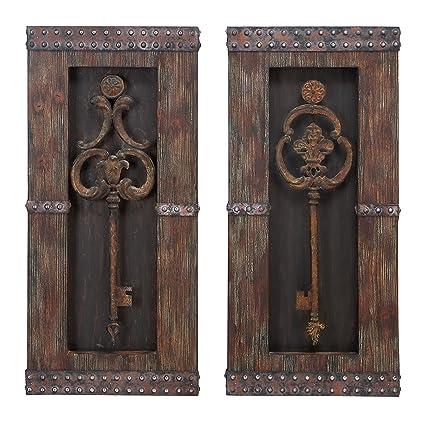 Latest Antique Key Wood Wall Decor Set of 2 Style - Luxury antique wall decor Elegant