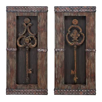 Antique Key Wood Wall Decor   Set Of 2