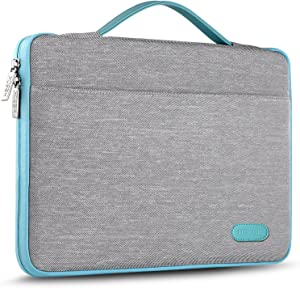 Hseok Laptop Sleeve 15 15.6 16 Inch Case Briefcase, Compatible MacBook Pro 16 15.4 inch, Surface Book 2/1 15 inch Spill-Resistant Handbag for Most Popular 15-16 inch Notebooks, Silver Grey