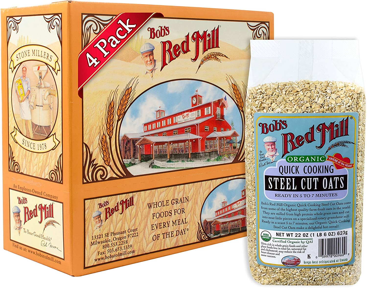 Bob S Red Mill Organic Quick Cook Steel Cut Oats 22 Ounce Pack Of 4 Amazon Ca Grocery