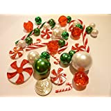 Christmas Floating Candy - Land 40 Jumbo & Assorted Sizes Green, Red and White Pearls, Metallic Beads, Red & Green Candy Gems and Candy Canes Vase Fillers Value Pack - including one Jumbo Transparent Water Gels Packet to float the Pearls, Gems & Candy Canes.