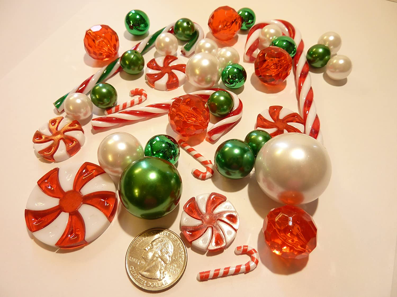Amazon christmas floating candy land 40 jumbo assorted land 40 jumbo assorted sizes green red and white pearls metallic beads red green candy gems and candy canes vase fillers value pack including floridaeventfo Images