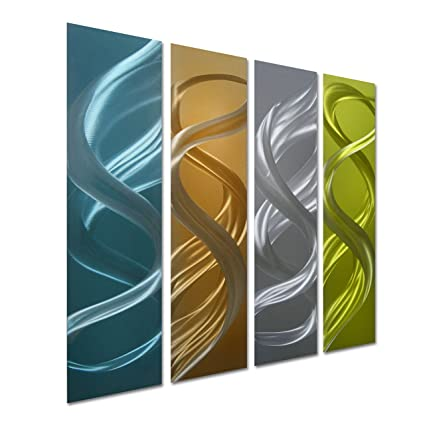 Amazon.com: Pure Art Colorful Turns - Small Abstract Metal Wall Art ...