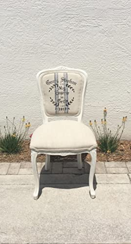 Louis XV French Style Square Back Side Chair | Vintage Grain Sack Fabric