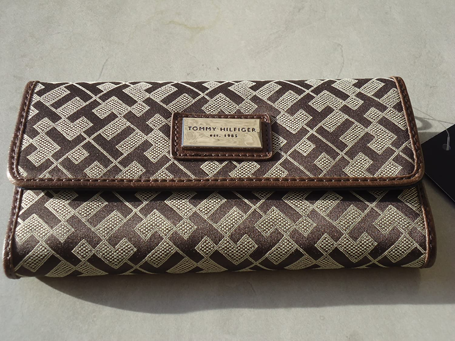 Tommy Hilfiger Wallet Checkbook Canvas Chocolate Brown Large