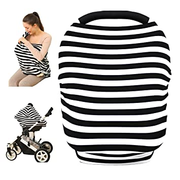 Baby Car Seat Cover Canopy Nursing And Breastfeeding CoverBlack White Stripe