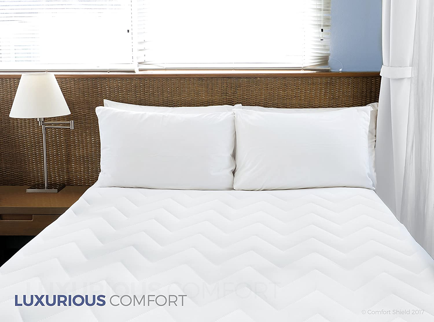 Amazon.com: Comfort Shield High Loft Quilted 100Percent Cotton Mattress Pad with Deep Expandable Knit Skirt 22 Inch -Washable- 10 Warranty-Twin: Home & ...