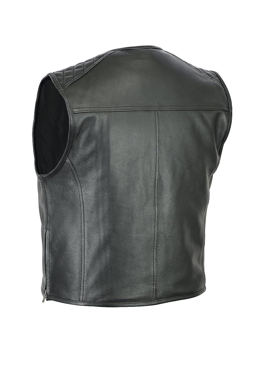 Gilet in pelle bovina rocker e discotecaro taglio a tunica da motociclista