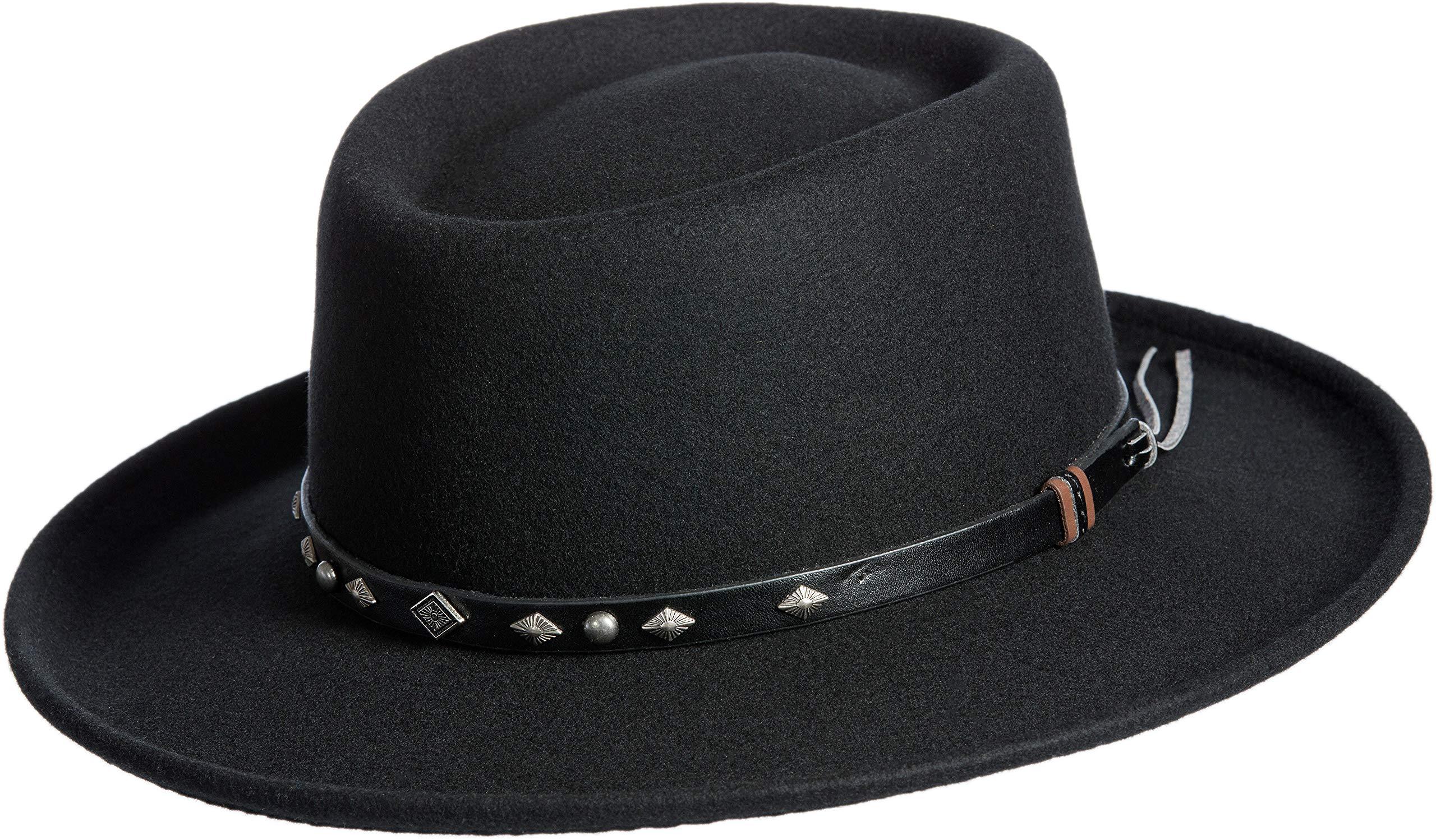 Overland Sheepskin Co Quincy Crushable Wool Waterproof Gambler Hat Black by Overland Sheepskin Co