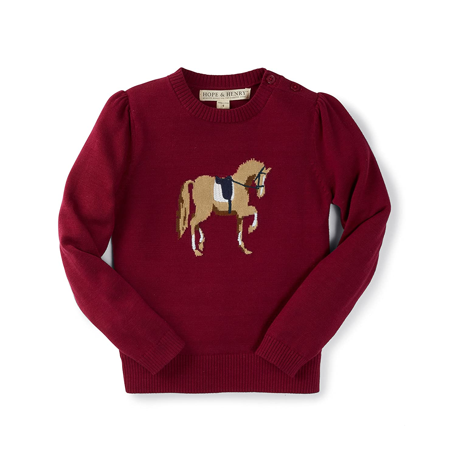 Hope & Henry Girls' Red Horse Intarsia Sweater Made with Organic Cotton