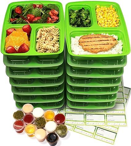 Recipientes de 3 compartimentos para comida preparada con tapas y contenedores a prueba de filtraciones de