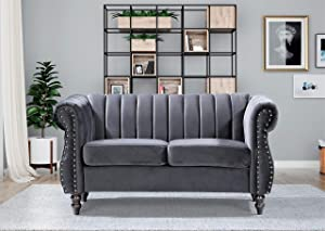 Container Furniture Direct Quinones Modern Chesterfield Channel Tufted Loveseat with Nailhead Accents, 59.1