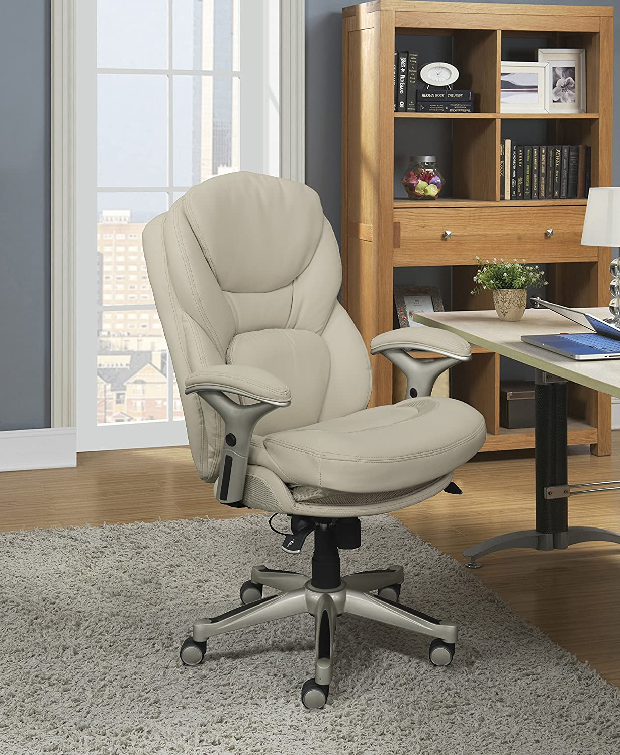 Serta Works Executive Office Chair with Back in Motion Technology, Inspired Ivory Bonded Leather