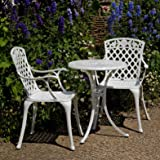 White Ella Bistro Table and 2 Rose Chairs Set