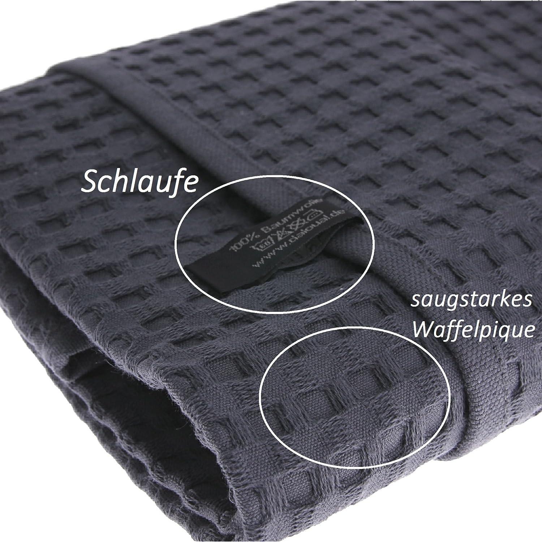 2X Duschtuch Badetuch Waffelpiqué 130 x70 cm Baumwolle     Saunatuch grau B078YZ5SN3 Duschtücher 167aeb