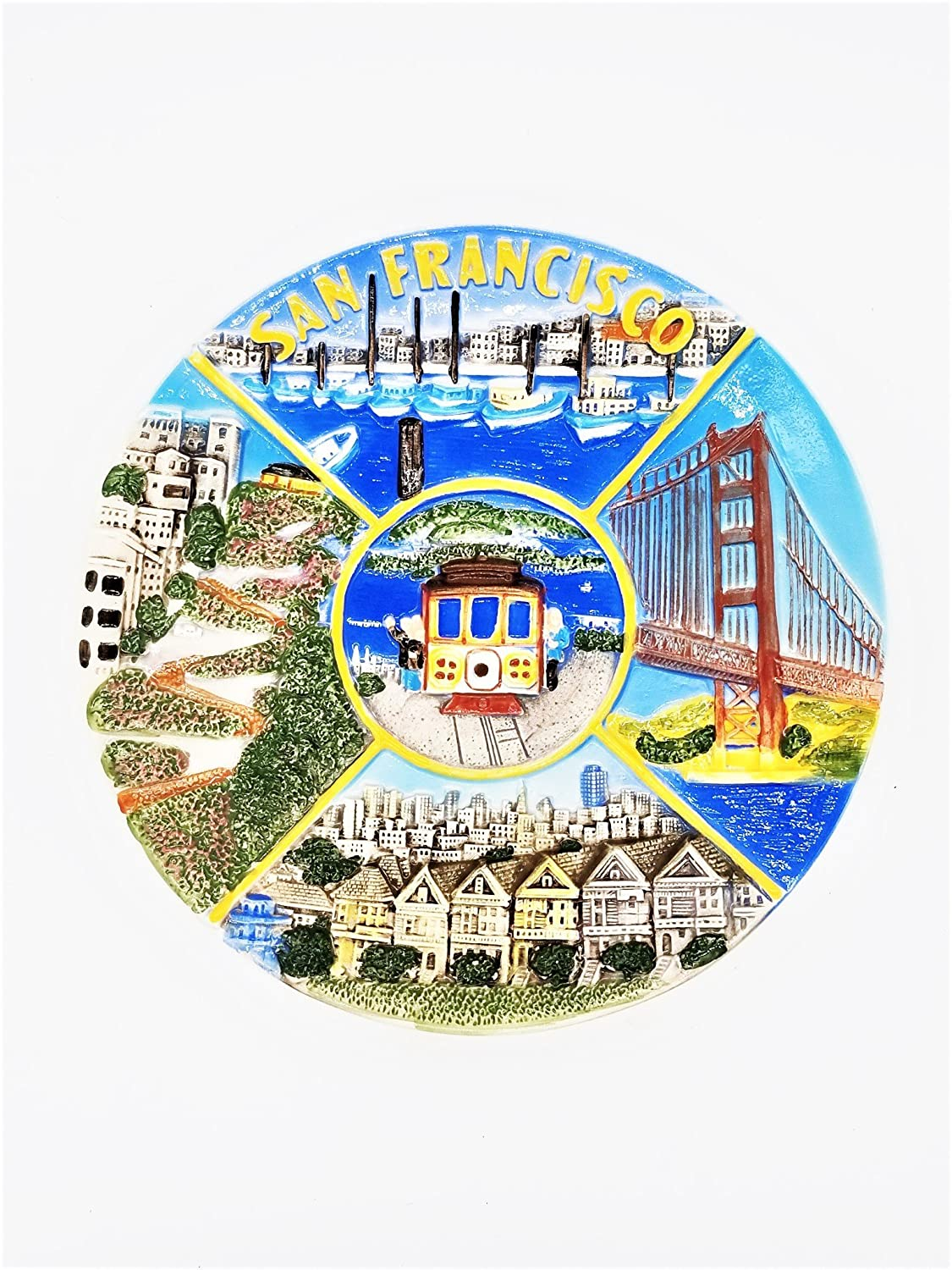 City Coffee Mugs (11 6/18) San Francisco Souvenir Plate Plaque San Francisco Scenes Raised Surface 8 Golden Gate Bridge San Francisco Cable Cars Victorian Houses With Copyrighted CA Bear Magnet