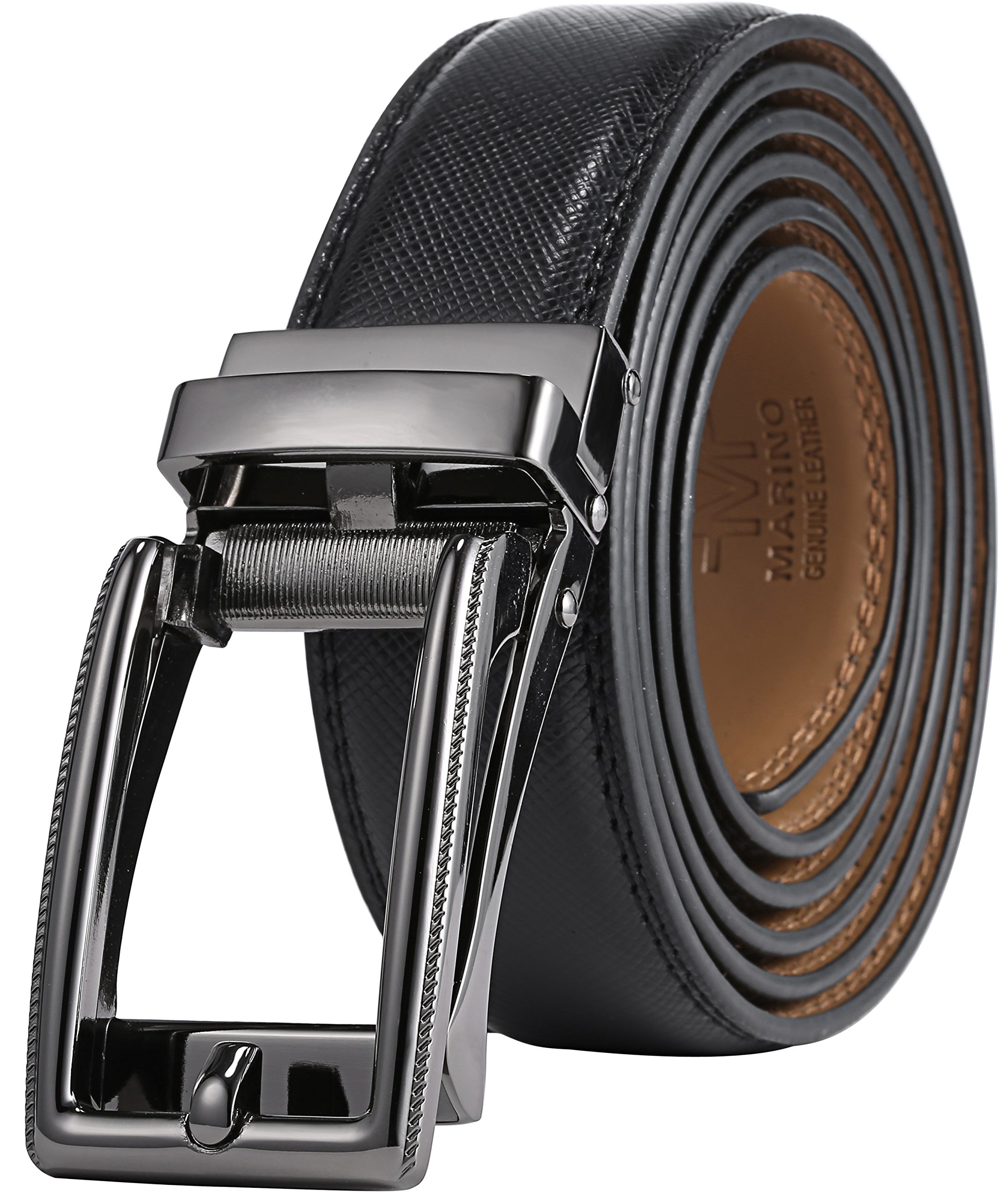 Marino Men's Genuine Leather Ratchet Dress Belt with Open Linxx Buckle, Enclosed in an Elegant Gift Box - Gunblack Silver Square Open Buckle W/Black Leather - Custom XL: Up to 54'' Waist