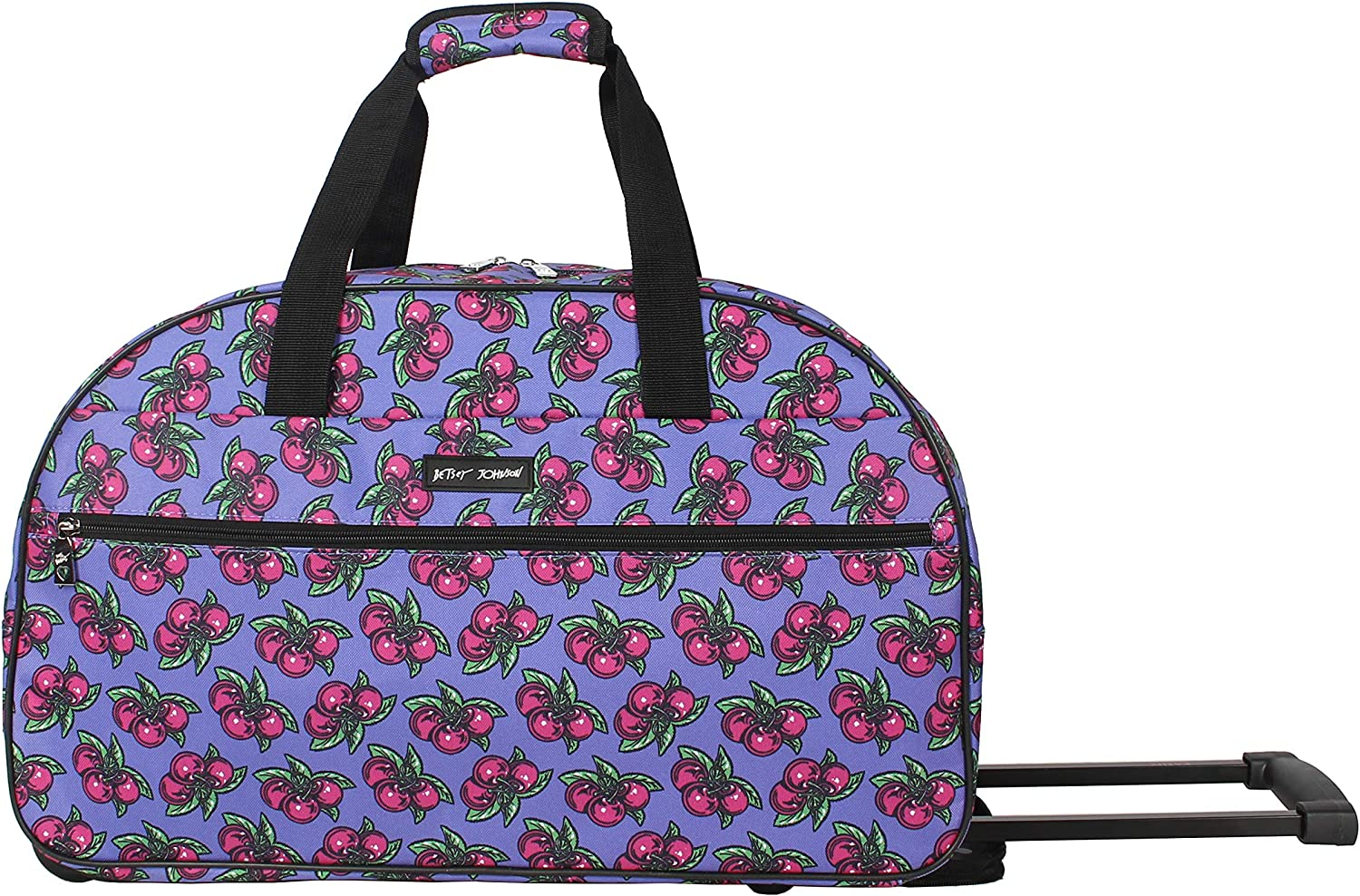 Lightweight Pattern 22 Inch Duffel Bag One Size, Cherry Bomb Weekender Overnight Business Travel Suitcase with 2 Rolling Spinner Wheels Betsey Johnson Designer Carry On Luggage Collection