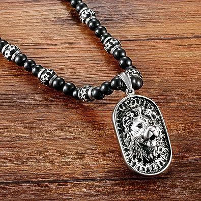 6d7ac4772af6 Cupimatch Herren Löwe Anhänger mit Halskette schwarz, Edelstahl Gotik Punk  Rock Löwe Kopf Dog Tag Anhänger Achat Onyx Perlen Kette Kugelkette, ...