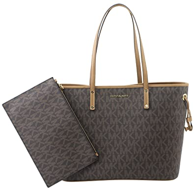 Amazon.com  Michael Kors Jet Set Travel Large Drawstring Tote Signature  (Brown Acron) acb9346254