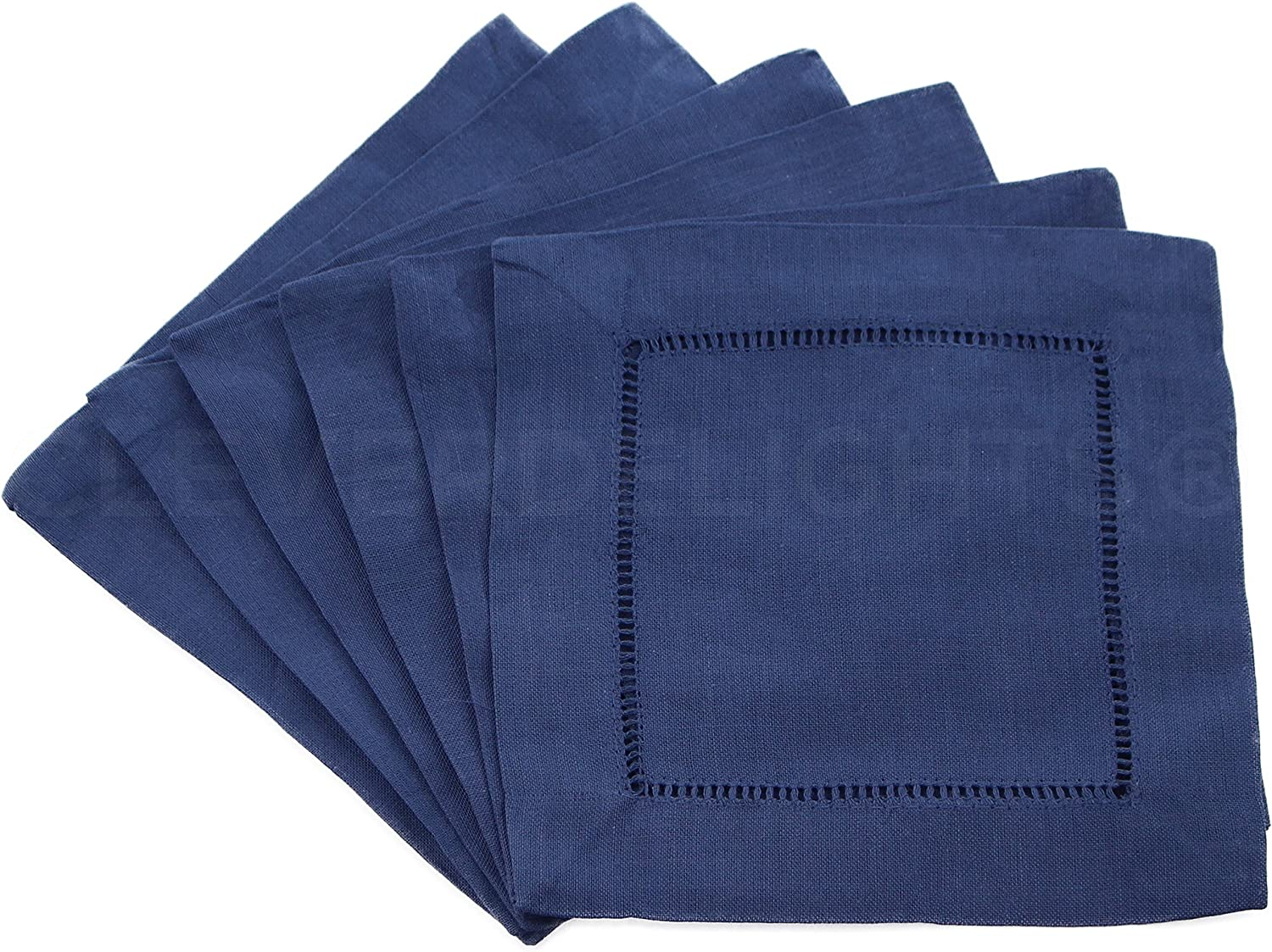 "12 CleverDelights Navy Hemstitch Cocktail Napkins - 6"" x 6"" - 45/55 Cotton Linen Blend - Ladder Hemstitch Beverage Napkins - Dark Blue 6 Inch Coaster"