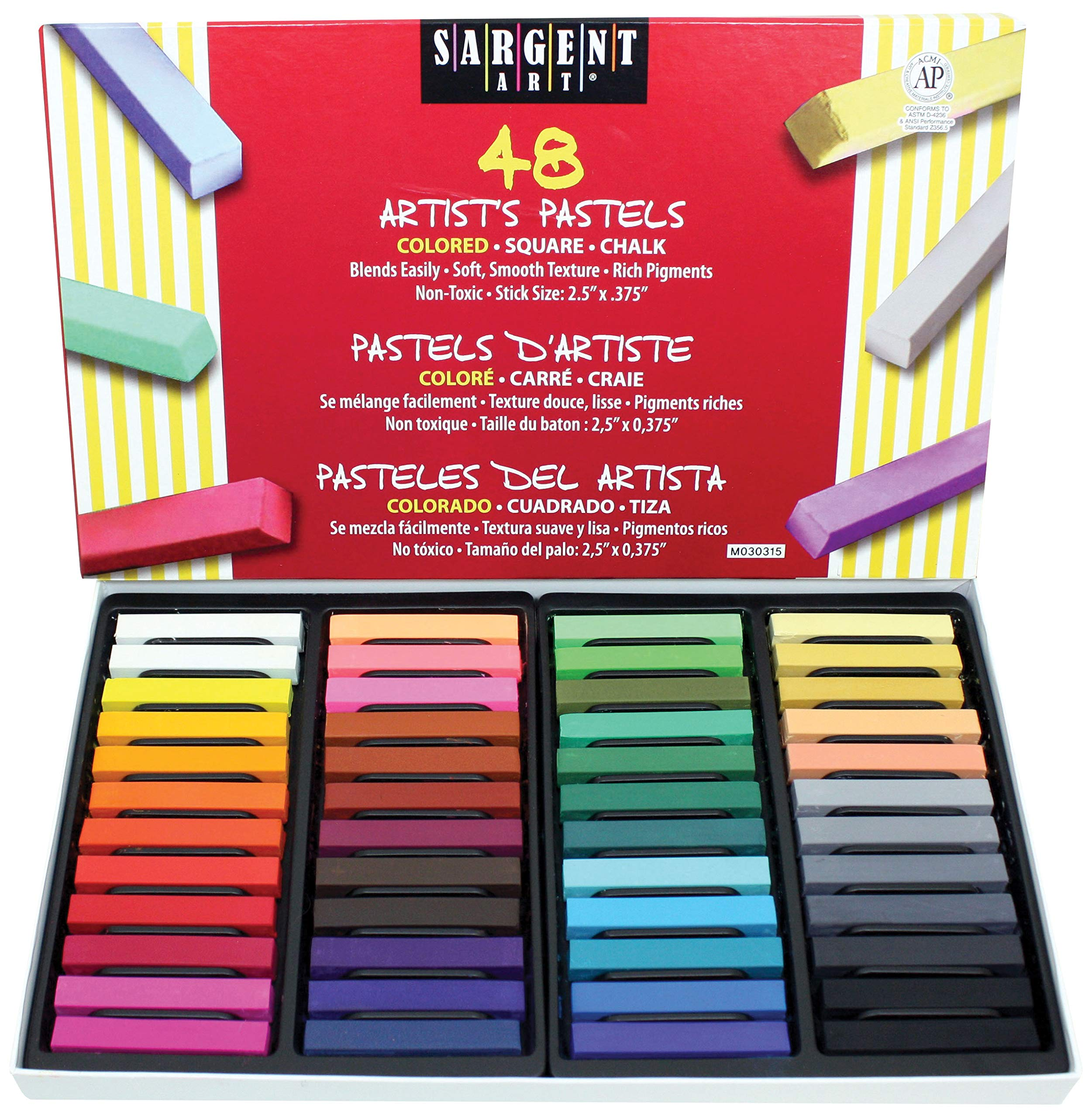 Sargent Art 22-4148 Colored Square Chalk Pastels, 48 Count (Pack of 4) by Sargent Art
