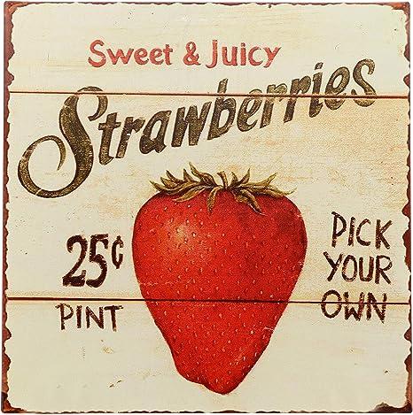 Amazon Com Barnyard Designs Strawberries Pick Your Own Retro Vintage Tin Bar Sign Country Home Decor 11 X Kitchen