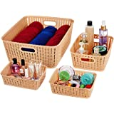 Amazon Brand - Solimo 4 Piece Storage Basket Set, Beige