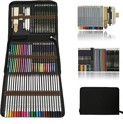 Profesional Lápices de colores Conjunto de Dibujo Artístico,lapiz dibujo y Bosquejo Material Set,Incluye lápices metálicos,acuarelables,carbón,Lápices Pastel,Herramientas de dibujo y Caja de lápiz: Amazon.es: Oficina y papelería