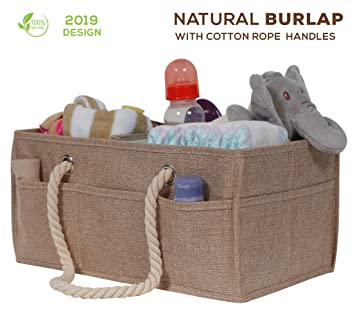 Cotton Rope Baby Diaper Caddy Organizer- SIGNREEN Nursery Diaper Tote Bag with Dividers for Diapers /& Wipes with Sturdy Handles Baby Shower Gift Basket Portable Car Travel Organizer Brown