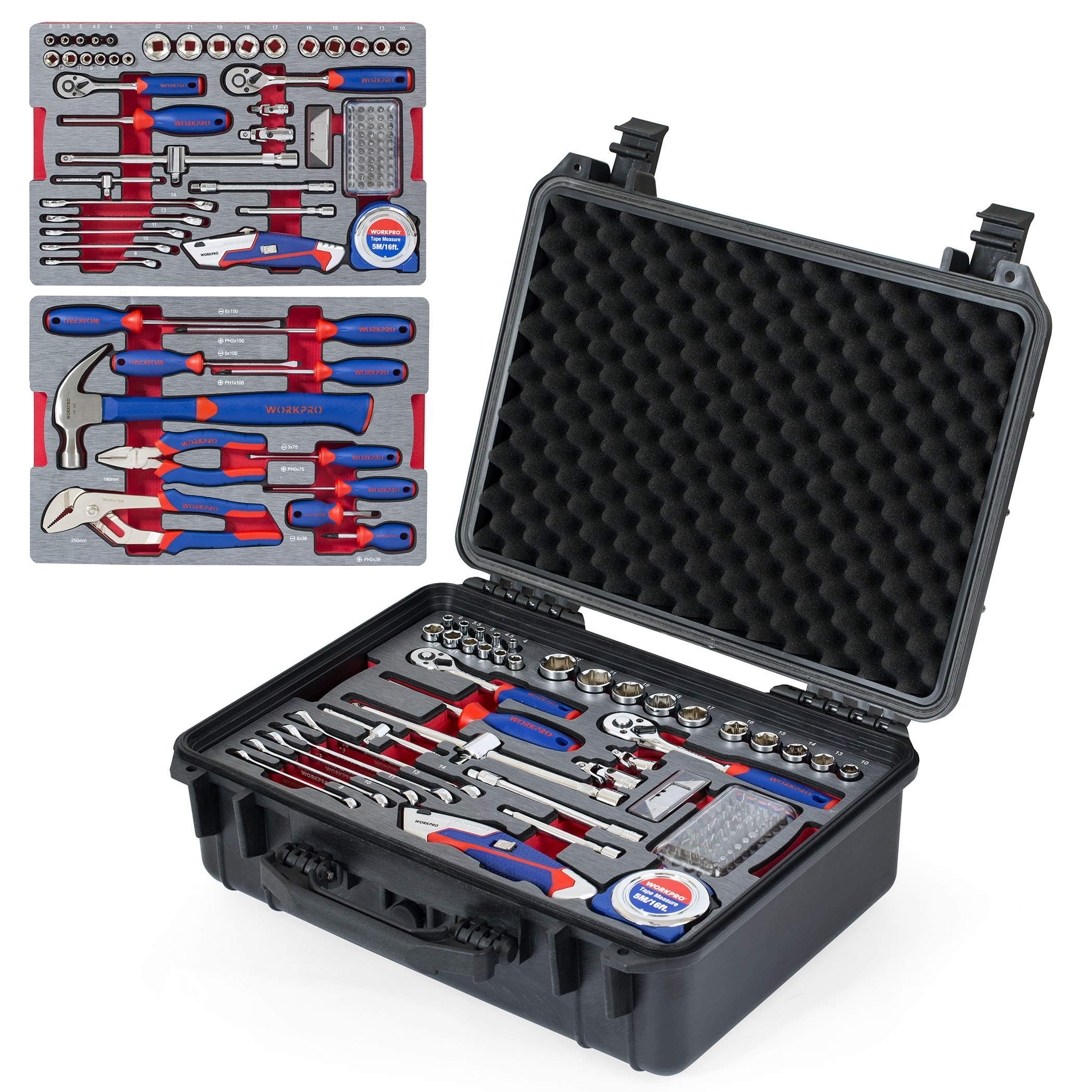 CDM product WORKPRO W009043A 110-Piece Home Repair Tool Set - Chrome-vanadium, Packed in Waterproof Case for DIY, Auto and Home Maintenance big image