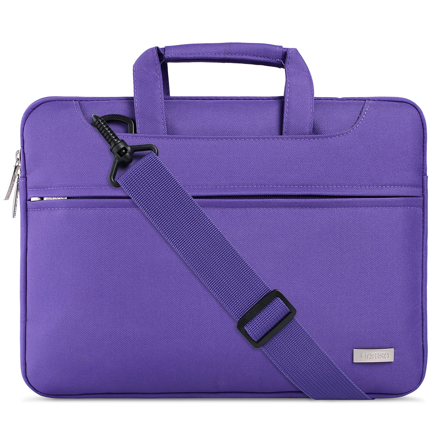 MOSISO Laptop Shoulder Bag Compatible 15 Inch MacBook Pro with Touch Bar A1990 & A1707 2018 2017 2016, Also Fit 14 Inch Notebook, Polyester Briefcase Sleeve with Back Belt for Trolly Case, Pink