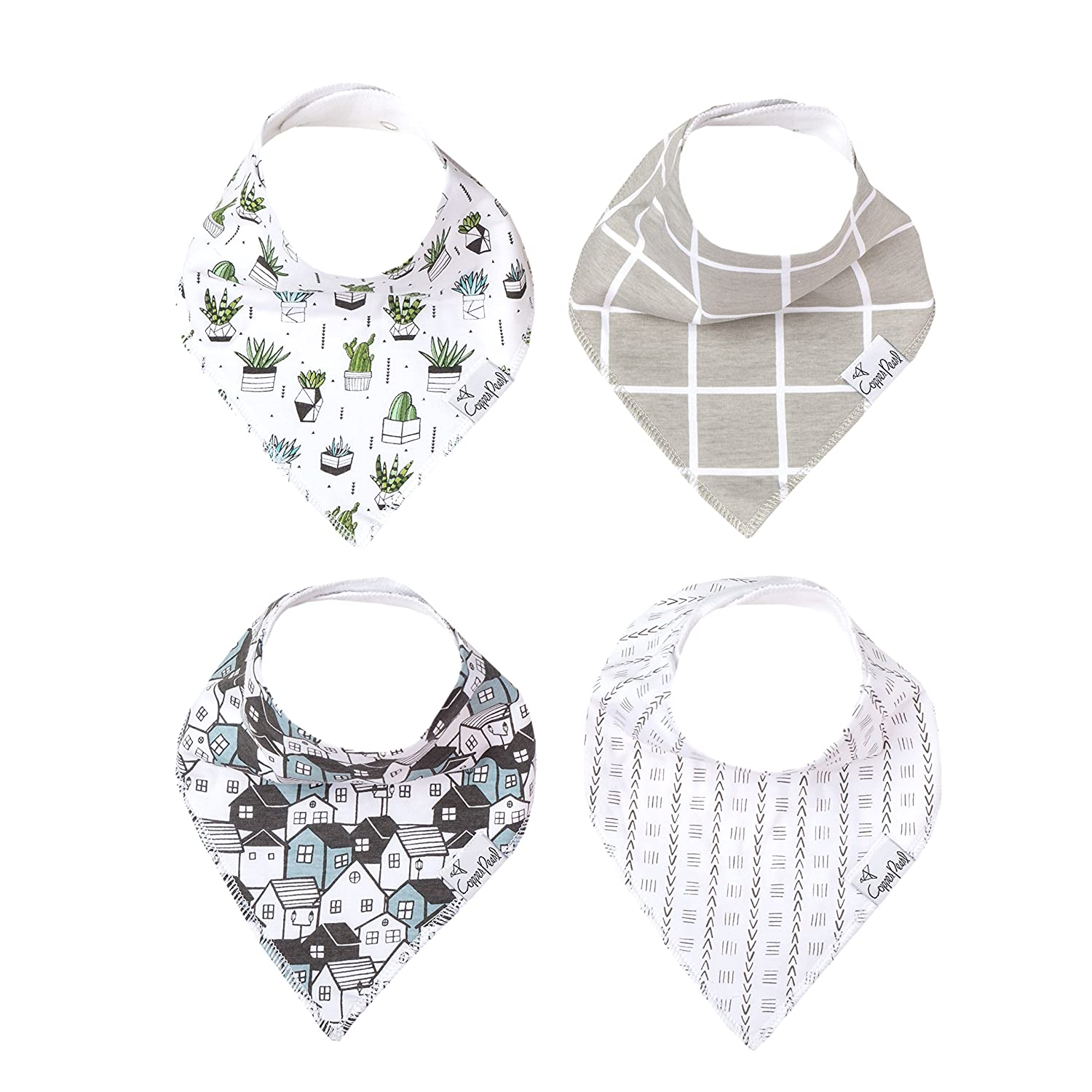 """Baby Bandana Drool Bibs for Drooling and Teething 4 Pack Gift Set For Boys """"Urban Set"""" by Copper Pearl"""