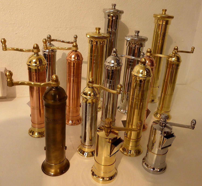 Alexander Solid brass salt mill, hand-made in Greece, 23cm; Model 109