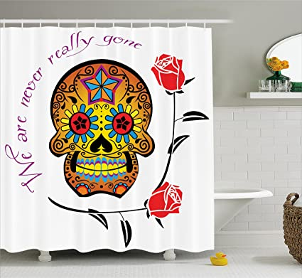 Ambesonne Day Of The Dead Decor Shower Curtain Spanish Festive Skull With We Are